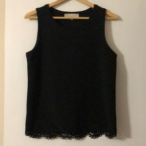 Black LOFT sleeveless top with intricate cut outs